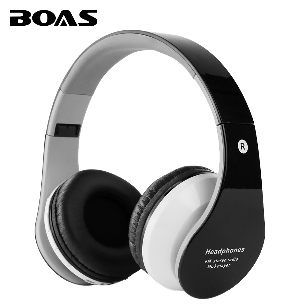 BOAS bluetooth wireless headphones support TF card FM radio handfree handset with microphone foldable earphone for iphone xiaomi(China (Mainland))