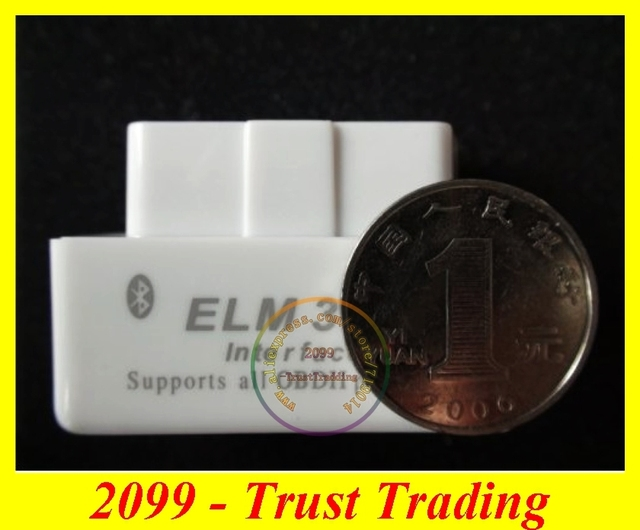 New White elm327 bluetooth Code reader Diagnostic Tool Super mini ELM327 Bluetooth White color 1.5 version with free shipping