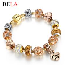 2016 Luxury New Gold Charm Bracelets For Women Crystal DIY Beads Bracelets & Bangles Pulsera Gift Fashion Jewelry(China (Mainland))
