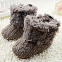 Baby Kid Knitted Fur Snow Boots 5 Color Toddlers Soft Sole Short Boots Shoes 0-18 Months(China (Mainland))