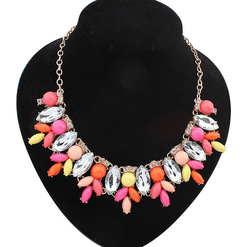 Gold Plated Resin Rhinestone Flower Statement Necklace Women Necklaces Pendants Summer Style Jewelry Colar For Gift