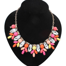 Gold Plate Resin Rhinestone Flower Statement Necklace Women Necklaces & Pendants Summer Style Jewelry Colar For Gift Party
