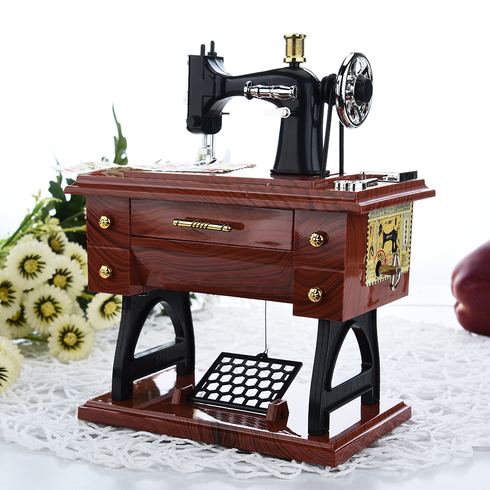 New Retro Sewing Machine Musical Box With The Drawer Desktop Furnishing Articles Craft Ornaments Dynamic Music Boxes Gifts(China (Mainland))
