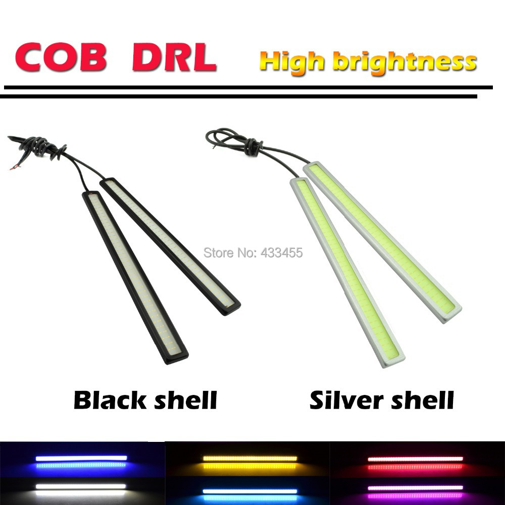 Ultra Bright 12V 12W Daytime Running Lights 17cm Length Daylight COB Car LED DRL Day time lamp Waterproof Silver Frame 2pcs/pair<br><br>Aliexpress