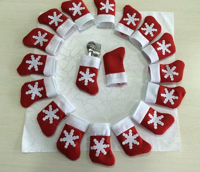 (12 pcs) Santa Sliverware Bag Christmas Decoration Dining Table Knife Fork Restaurant Enfeites De Natal Festa Tableware Bags(China (Mainland))