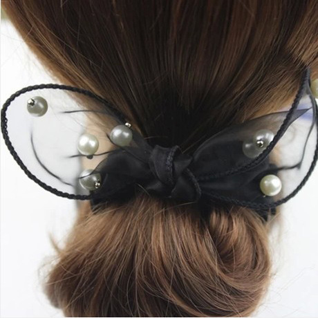 Boutique jewelry Korean hair accessories manufacturers Five pieces of sale Princess fabric lace bow pearl rabbit ears hair ring(China (Mainland))