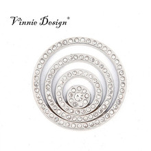 Vinnie Design Jewelry 33mm Large Coin with Sparkling Crystals for My Coin Pendant Necklace(China (Mainland))