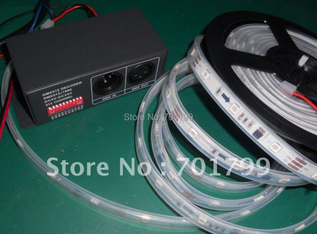 LT-DMX-1809(WS2811) DMX Decoder+5m WS2811 led dream color strip,DC12V input,waterproof in tube