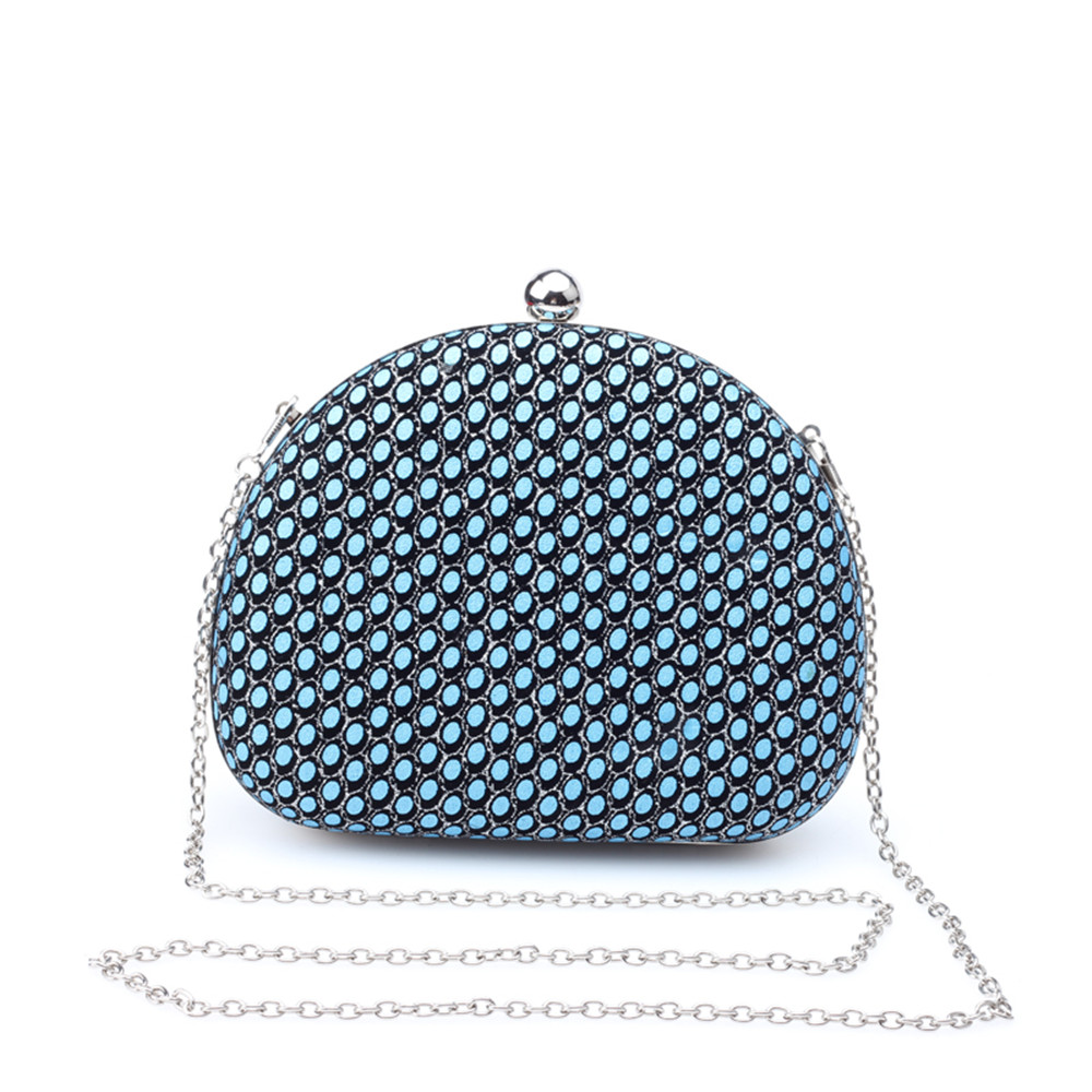 European style D shape dull polish evening dinner bag polyester round dot pattern messenger bag chain day clutches(China (Mainland))