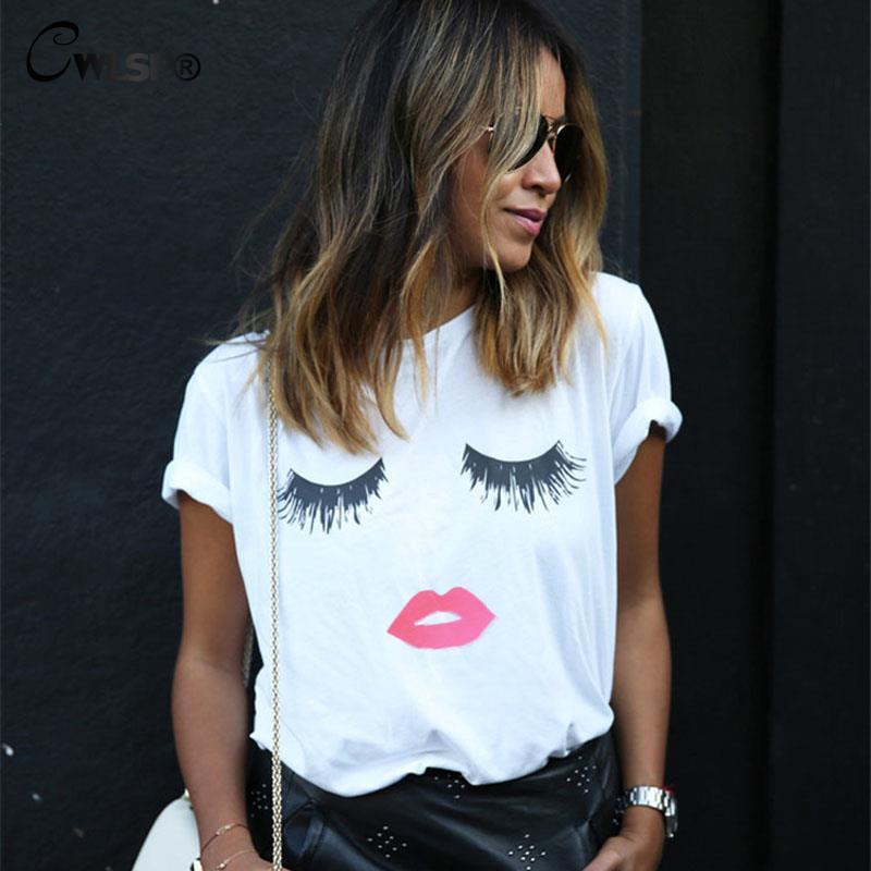 Fashion Women T-shirt 2016 Hot Sale White Black O Neck Short Sleeve Summer Tops Lashes lips print T Shirt Plus Size 5XL QA1240(China (Mainland))