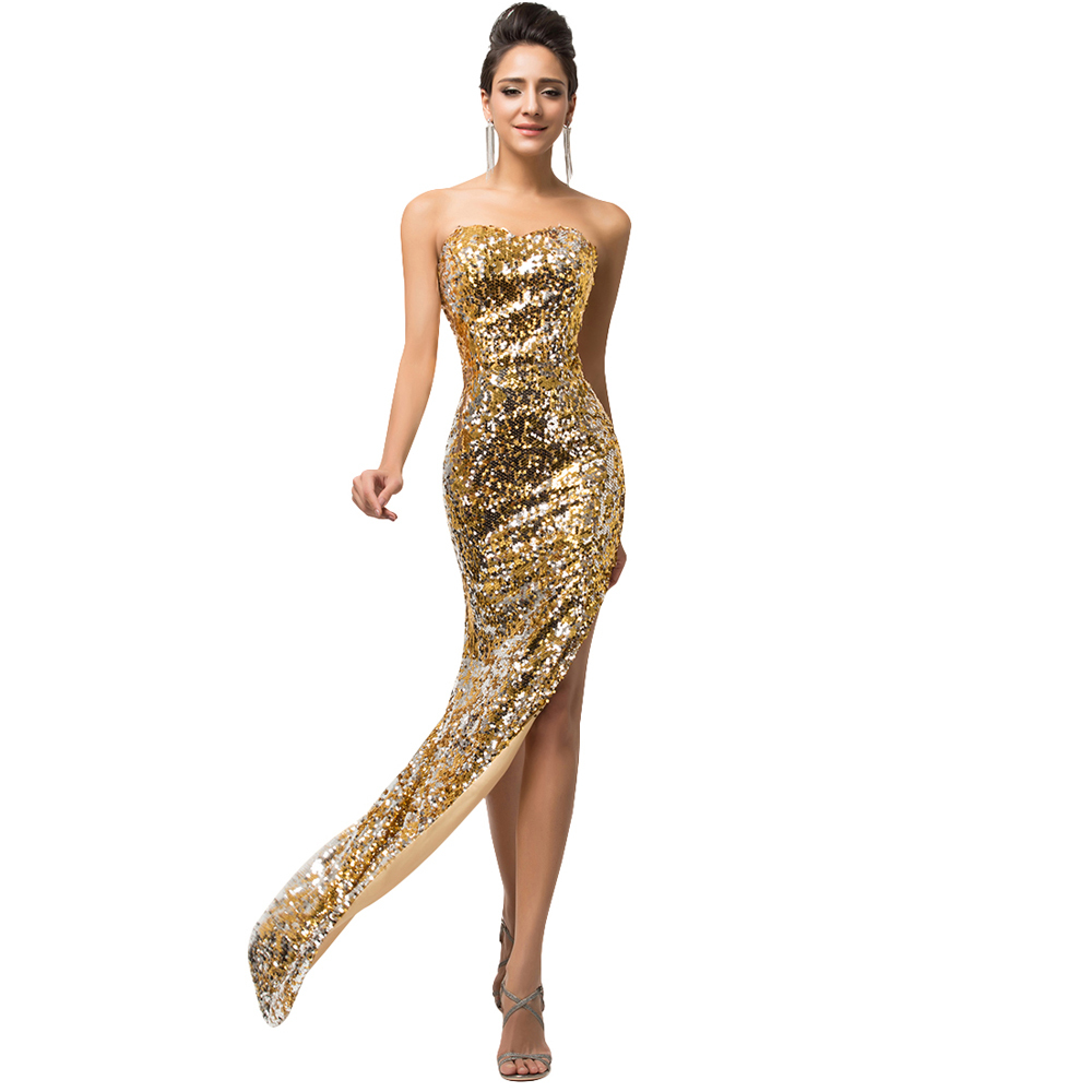 Best Selling Mermaid Long Black Gold Evening Dress Sequins Split Strapless Prom Dresses Elegant Formal Gown Wedding Party 7589(China (Mainland))