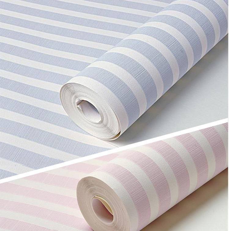 papel de parede. plain blue/pink children's pvc striped wallpaper modern for kids room walls roll boy and girl wall coverings(China (Mainland))