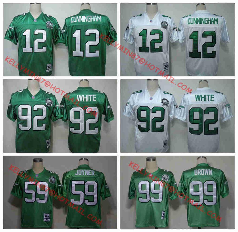 100% Stitiched,Philadelphia Eagles,Reggie White,Randall Cunningham,Jerome Brown,Joyner Green,Throwback for men(China (Mainland))