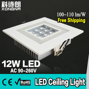 AC85~265V 12W LED Ceiling Downlight with Colorful Square Ring CE & RoHS 2 Years Warranty