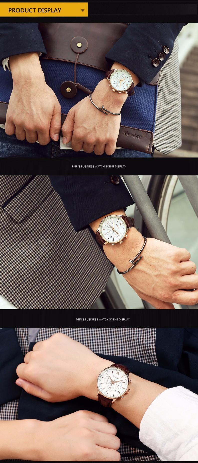 Горячий Стиль Моды для Мужчин Часы 2016 Новое Прибытие Три Натуральная Кожа Starps Многофункциональный Отдых И Бизнес Водонепроницаемые Часы
