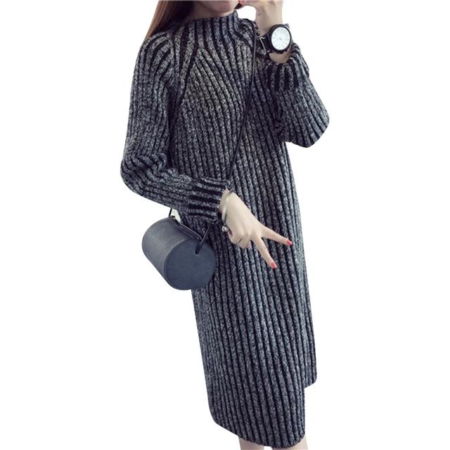 2016 весна осень женщины свитер платья зимний рождественский длинные свитера трикотажные ...