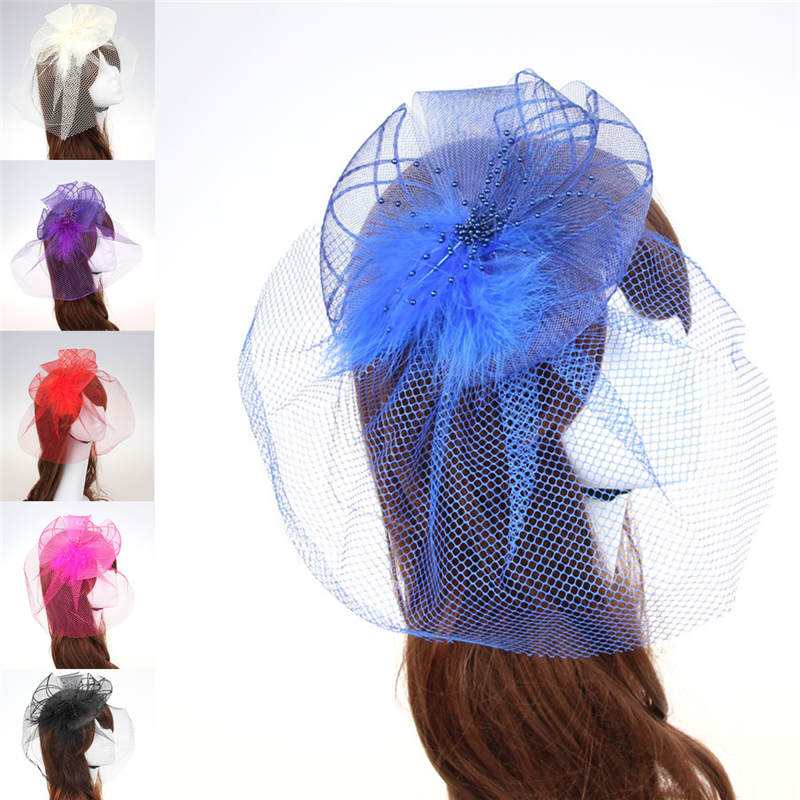 2016 1pc western style Veil Feather Hard Yarn Women headwear Brides Hair Accessories wedding hats and fascinators W50(China (Mainland))