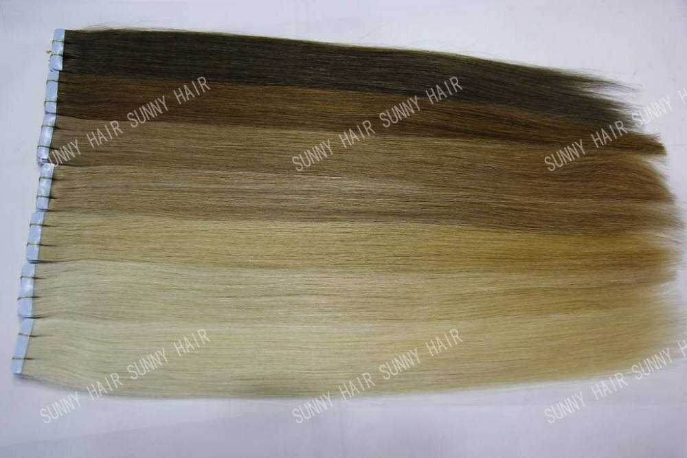 Virgin Remy Double tape skin weft Hair Extensions 60pcs a lot 18-20inch wholesale super tape PU hair extensions invisible easy