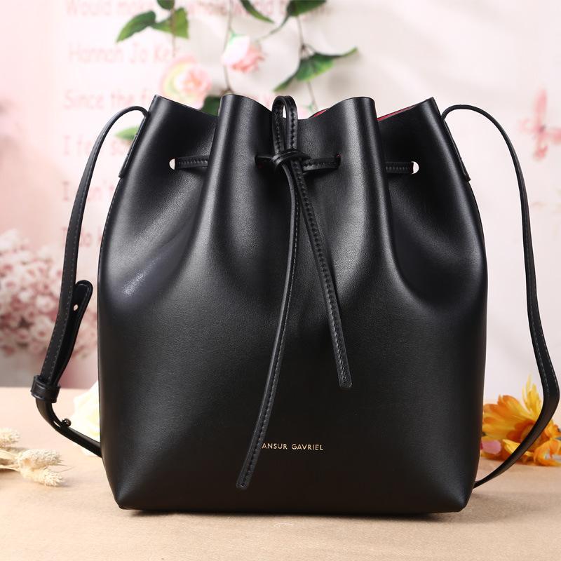 2015 New Leather Mansur Gavriel Bucket Bag Shoulder Handbags European and American Leather Drawstring Bag Size S L Fast Shipping