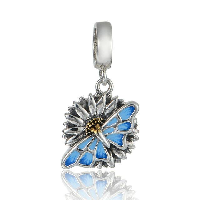 925 - серебристо-ювелирные эмаль бабочка мотаться бусины Fit Chamilia пандора браслеты серебро 925 мода DIY