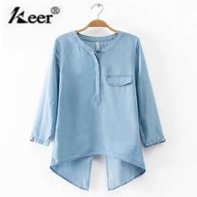 Women's Blouses Europe 2016 Autumn Casual Long Sleeve Cowboy Shirts Women Fashion Back Slit Blouse Plus Size Denim Shirt Female(China (Mainland))