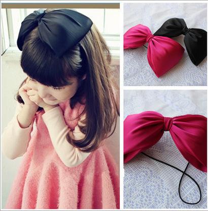 girl's big bow headband baby band kis bow flower head band kid's children hair accessories(China (Mainland))