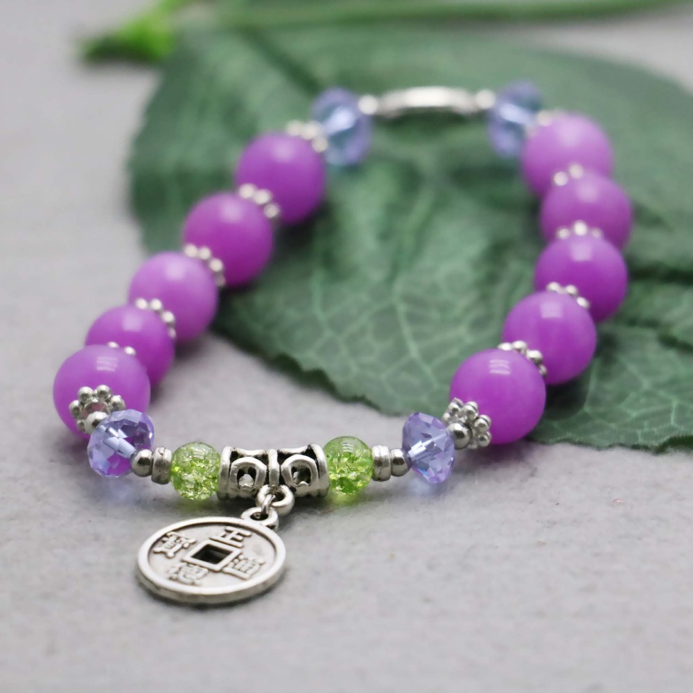 Retro Purple Violet Chalcedony Crystal beads natural stones Bracelet hand chain for women girls Ancient coin Pendant Design(China (Mainland))