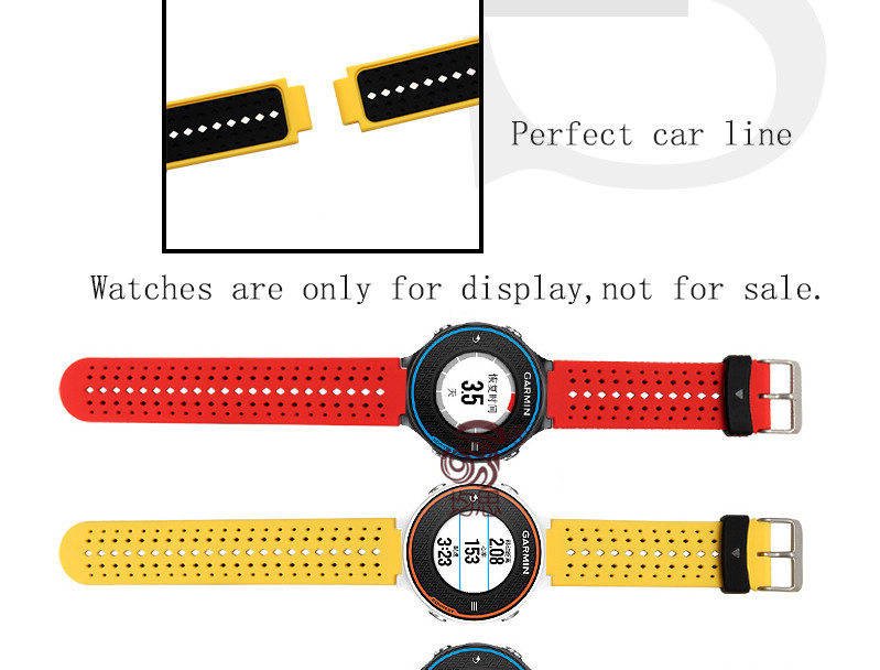 22*15mm Silicone Rubber Watchband For Garmin Forerunner 630/ 620/235/220 Smart Watch Wrist Bracelet Fine Steel Buckle