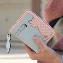 2015 Hottest Women Short Design Cat Purse Cute Ladies Wallet Bags PU Leather Handbags Card Holder Free Shipping