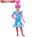 2017 New Girls Trolls Costume Dress Children Trolls Poppy Party Clothes For Kids Costumes Summer Princess