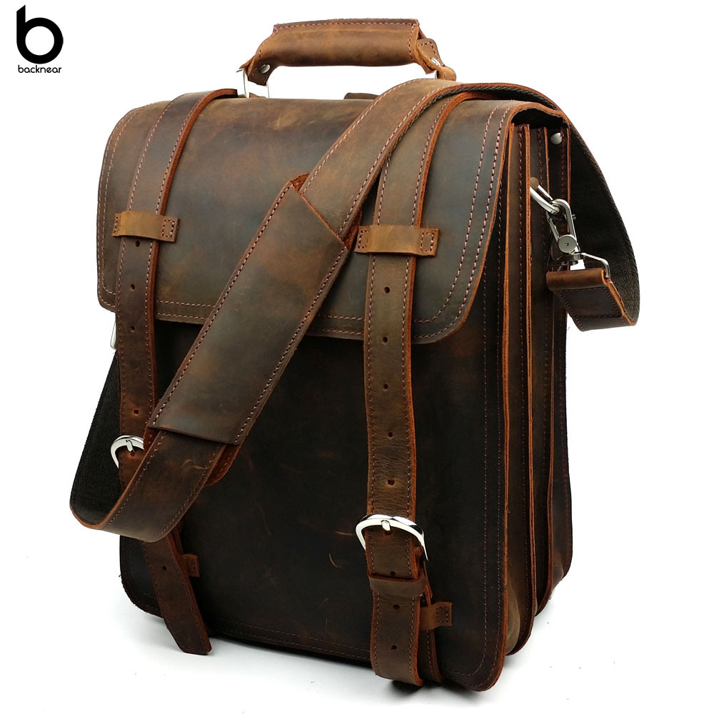 Top Grain Leather Handmade Heavy Duty Buckles Multi-layer Vertical Backpack Bag #5090701<br><br>Aliexpress