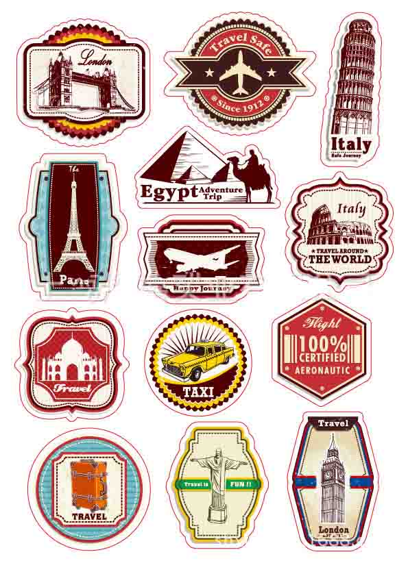 A4-007 World Travel Egypt Italy Lodon Rio Paris Luggage Laptop Skin Waterproof Removable PVC Stickers Motorcycle Stickers(China (Mainland))
