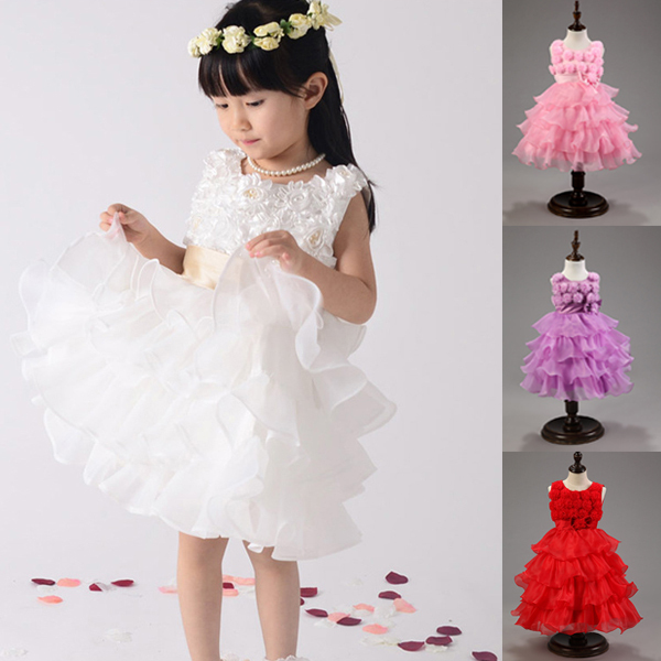 Retail2015 New girl summer Party Wedding Dresses,Baby Girls Rose Princess Dress,Kids Fashion Bowknot Costume,4 Color To Choose(China (Mainland))