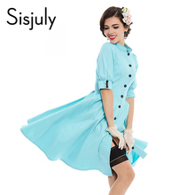 Buy Sisjuly vintage dress 1950s style solid color sexy 2017 spring summer women party Single button dress elegant vintage dresses for $16.50 in AliExpress store
