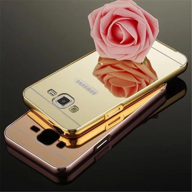 For Samsung Galaxy J1 J2 J3 J5 J7 A3 A5 A7 A9 G530 G7106 Luxury electroplating mirror design Aluminum Frame + Hard PC case cover(China (Mainland))