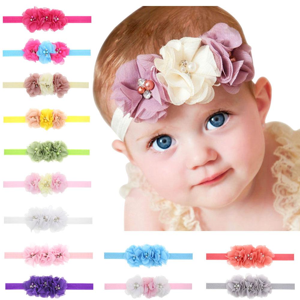 New Fashion Hot children Kids Baby Girls Pearl rhinestone Chiffon Flowers Headband Headwear Hair Band Head Accessories(China (Mainland))