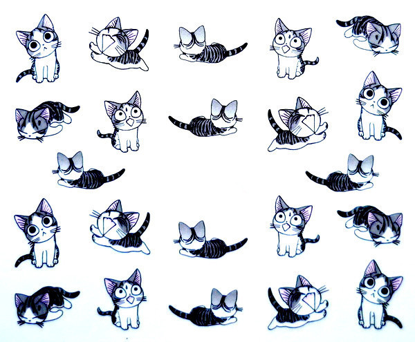 Free Shipping 2015 New Water Transfer Nail Art Stickers Decal Cute Cats Black White Grey Design Decorative Foils Stamping Tools(China (Mainland))
