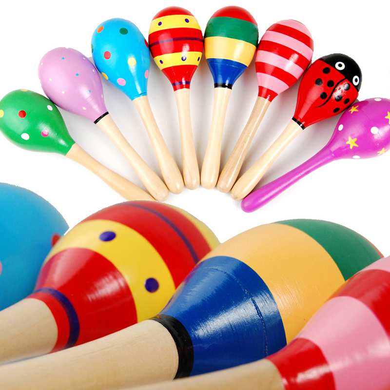Wooden Maraca Wood Rattles Kids Musical Party favor Child Baby shaker Wooden exercise auditory grasping Toy/ Random Color!!(China (Mainland))
