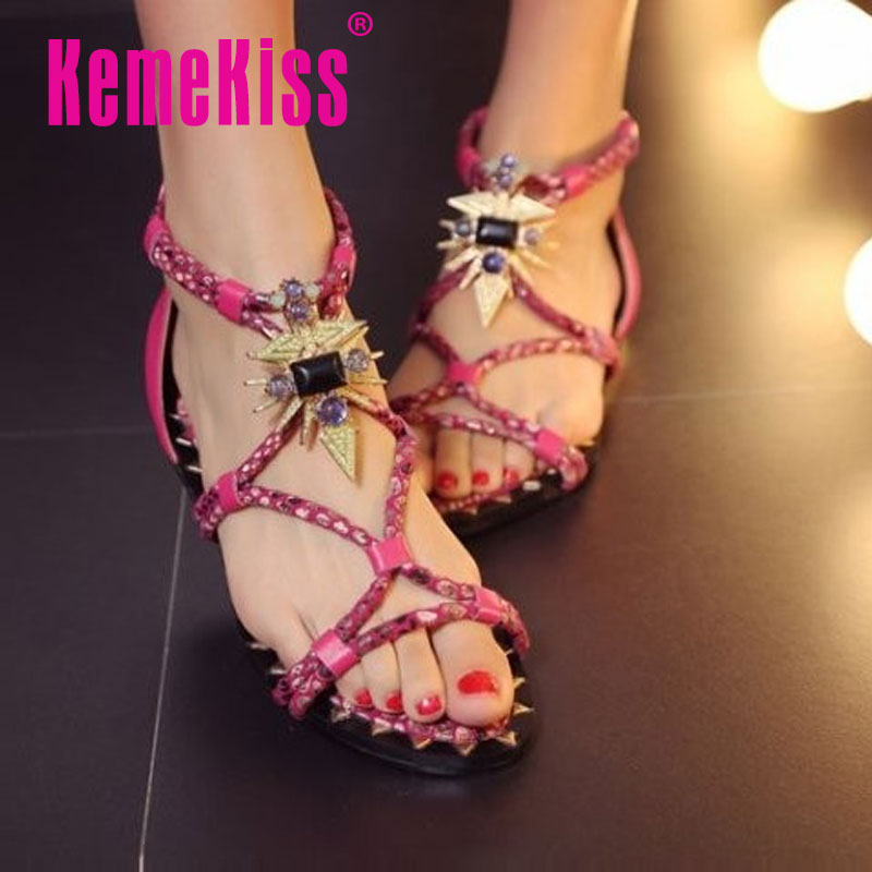 women real genuine leather bohemia slippers party flat sandals sexy beach fashion brand heeled ladies shoes size 33-43 R7098<br><br>Aliexpress