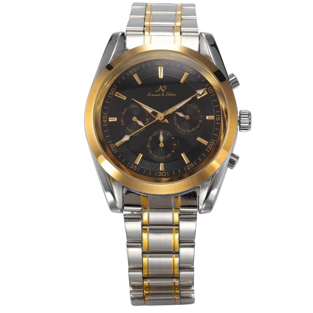 Гаджет  Brand New KS 6 Hands Date Day 24 Hours Black Dial Silver Golden Stainless Steel Men