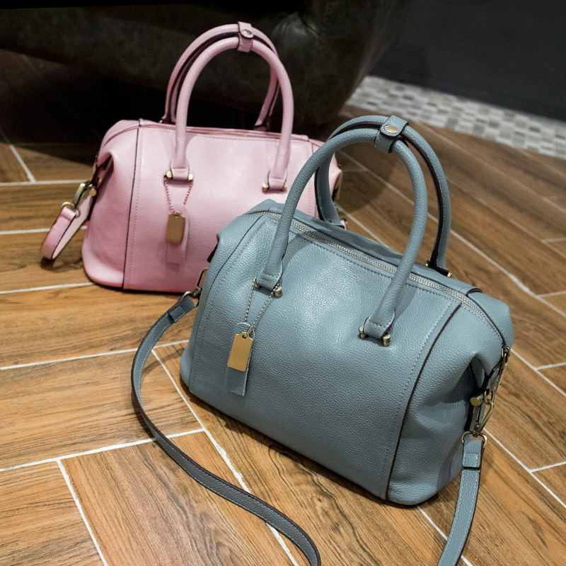 godwomens leather boston bag 2016 new european boston handbag solid color cowhide women messenger bag sac - Sac A Main Color