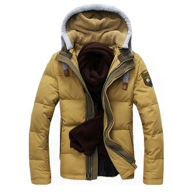 High Quality Men Slim Fit Warm Down Jackets Fashion Winter Jacket Men Thick Hood Detachable Outwear White Duck Down Homme Coat