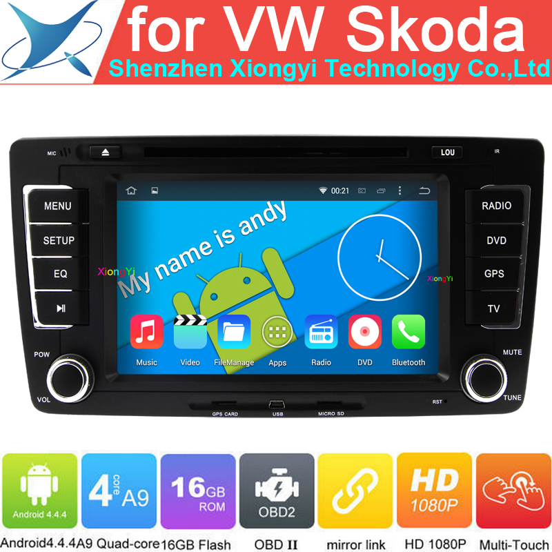 Quad Core Android 4.4.4 Car DVD PC Muilt Media For VW Skoda Octavia Yeti Superb With OBD DVR WiFi 3G Radio GPS CANBUS 2 Din(China (Mainland))