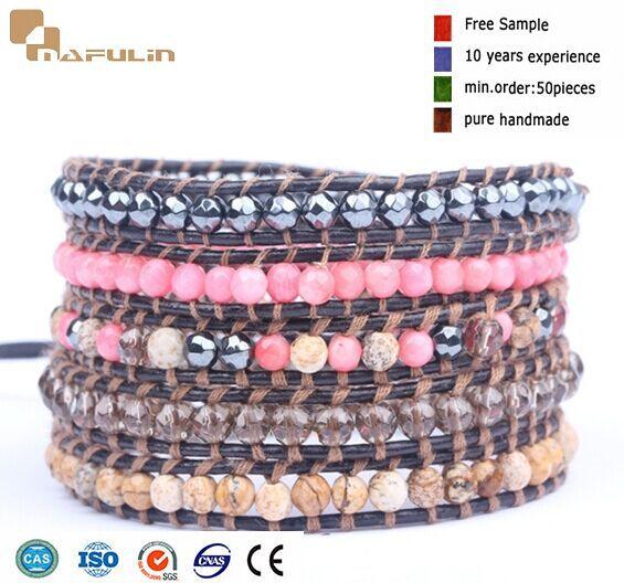 High Quality Pink Coral Bead Mix Beads Leather Wrap Luu Bracelet(China (Mainland))