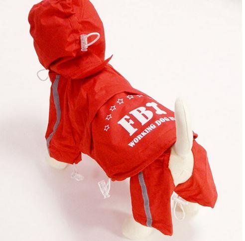 Free Shipping ! New Fashion Pet / Small & Big Dog Removable Raincoat 4 feet Pet outdoor supply Red/Blue/Yellow  8 sizes XS-4XL