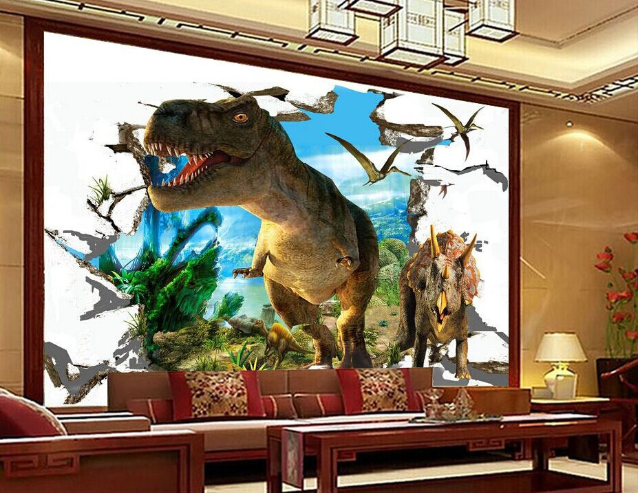 2015 custom shipping tv living room sofa dinosaur mural for Dinosaur mural wallpaper