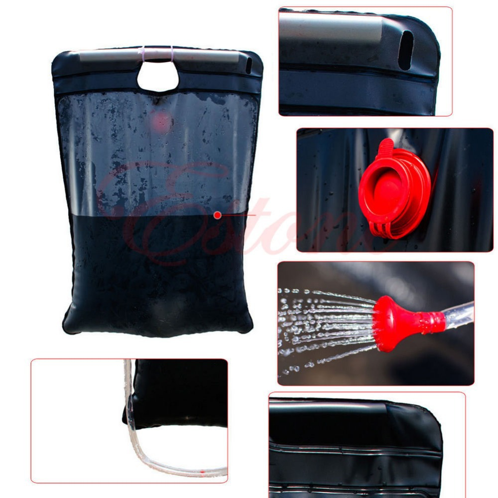 20L Portable Outdoor Camping Heat Shower Bag Solar Camp Shower With Thermometer(China (Mainland))