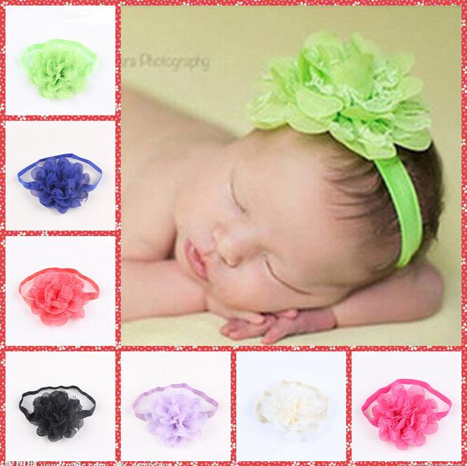 Hot Sale Children's Headwear Baby Girls Net Gauze Flower+ Elastic Hair Hand 13colors Headbands Free Drop Shipping(China (Mainland))