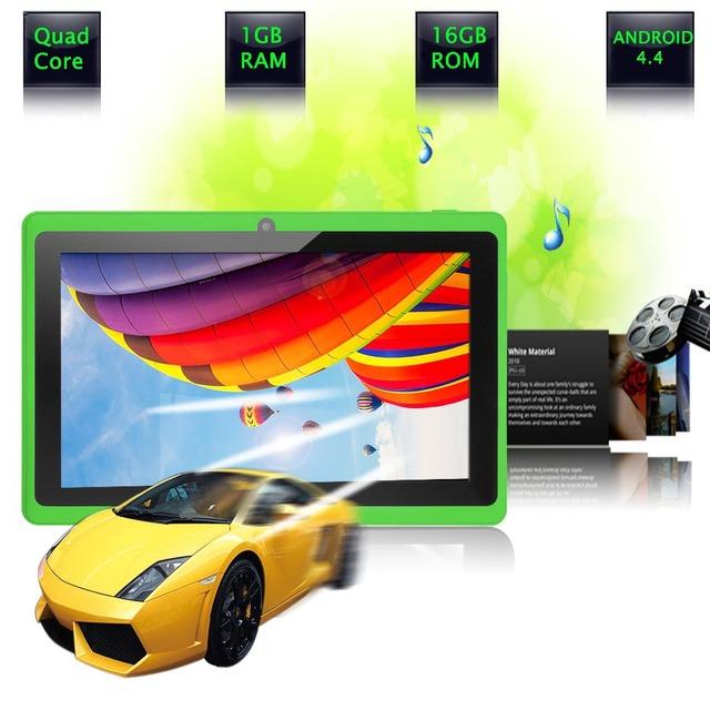 """7 """" планшет пк 4.4 Google A33 Quad 1 г - 16 ГБ Bluetooth gps-wifi FlashTablet пк четырехъядерный процессор Q88 Tab поддержка 3 г внешний"""