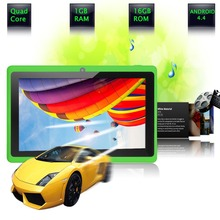 """7"""" Tablet PC Android 4.4 Google A33 Quad-Core 1G-16GB Bluetooth WiFi FlashTablet PC Quad Core Q88 Tab Support 3G External(China (Mainland))"""